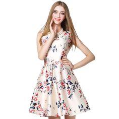 HEEGRAND Vestidos De Fiesta 2016 Spring Casual Sleeveless Bow Slim O-Neck Flower Print Sexy Party Ball Gown Women Dress WQW1548