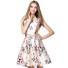 HEEGRAND Vestidos De Fiesta 2016 Spring Casual Sleeveless Bow Slim O-Neck Flower Print Sexy Party Ball Gown Women Dress WQW1548