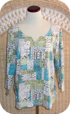 LARA LANE Womens Top Size XL White Brown Green Multi 3/4 Sleeve Cotton Spandex #LaraLane #KnitTop #CareerCasual