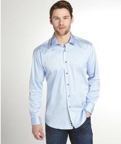 light blue cotton 'Anto' button front shirt