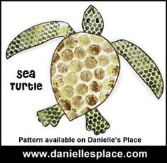 Sea Turtle with Bubble Wrap Pattern Craft for Kids from www.daniellesplace.com