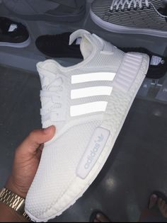 All white women's Adidas NMD sneakers. At TheShoeCosmetics all white trainers are the canvas, the fresh face to a sneaker makeover. An all white pair of Adidas tennis shoes are perfect canvas for a customized sneaker. Adidas Shoes Women, Nike Women, White Addidas Shoes, White Tennis Shoes, Adidas Nmd Women White, Cool Adidas Shoes, Sneakers Women, Trend Fashion, Adidas Sneakers