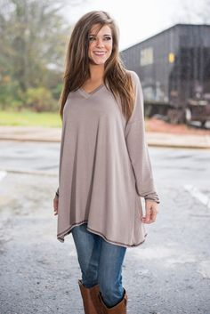 Simply Say So Top, Taupe