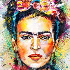Frida Kahlo Digital Portrait by Tracie Andrews Frida E Diego, Frida Art, Diego Rivera, Aquarell Tattoo, Wall Art Prints, Canvas Prints, Canvas Art, Digital Portrait, Portrait Illustration