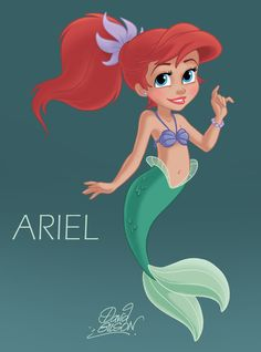 Ariel - The Little Mermaid....she is voiced by my mom's first cousin. :)