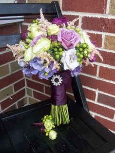Wedding, Flowers, Green, Purple, Bouquet, Brides