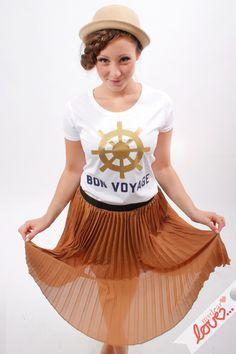 "Print-T-Shirt ""Bon Voyage"" Weiß de mydearlove® - shop sur DaWanda.com"