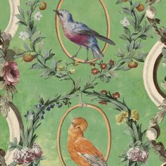 Countesses Aviarium by Mind the Gap - Green / Brown / Taupe - Mural : Wallpaper Direct Mint Wallpaper, Neutral Wallpaper, Cool Wallpaper, Pattern Wallpaper, Beautiful Wallpaper, Wallpaper Decor, Mind The Gap, Eclectic Design, Burke Decor
