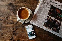 coffee, iphone, and newspaper