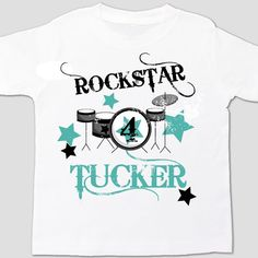 Birthday boy personalized drum set rockstar t-shirt 2nd Birthday Boys 3c5da5d26