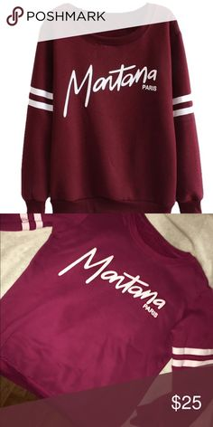 Burgundy Montana Paris Crewneck Sweatshirt Worn a couple times, no damage. 💞 open to offers/trades! (: could fit S,M,L. UO for exposure Urban Outfitters Tops Sweatshirts & Hoodies