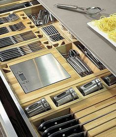 55 Smart Innovative Kitchen Island Ideas and Designs to Makeover Your Home - Contemporary Modern Kitchen Small Kitchen Ideas, DIY, Kitchen Remodel - Designblaz Kitchen Organisation, Diy Kitchen Storage, Smart Kitchen, Kitchen Drawers, Kitchen Pantry, Home Decor Kitchen, Interior Design Kitchen, New Kitchen, Kitchen Dining