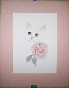 Completed Harrison Whites Cat & Flowers Cross Stitch on Aida Matted Rose 14 X 11 http://stores.ebay.com/myeclecticmercantile?_dmd=1&_nkw=completed