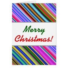Vibrant & Eyecatching Multicolored Stripes Pattern Card - merry christmas diy xmas present gift idea family holidays