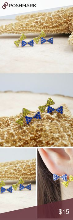 """Blue and Yellow Rhinestone Two Bow Stud Earrings Gold plated blue and yellow Rhinestone two Bow Stud Post Earrings.  lovely and cute  *Size: approx. 1.6 x 1cm (0.63"""" x  0.39"""") *gold plated, rhinestone * this listing is for ONE PAIR of earrings Jewelry Earrings"""