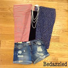 American flag kimono Great look for the Forth of July! Kimono $14.99 Cami $12.99 Shorts $34.99 Necklace $16.99 #bedazzledokc www.bedazzledokc.com