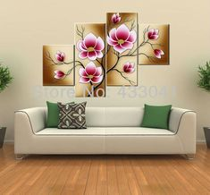 Tienda Online Bright Pink Abstract Flower Oil Paintings Large Canvas Art Cheap Modern 4 Piece Wall Art Set Handpainted Home Decorative Picture Cheap Canvas Art, Large Canvas Art, Canvas Wall Art, Lily Painting, Oil Painting Flowers, Pink Abstract, Abstract Flowers, Flower Oil, Home Wall Decor