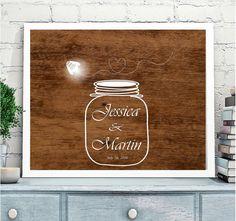 Wedding Guest book Alternative, Mason Jar Wedding Guestbook, Mason jar with fireflies,Shabby Chic Wedding,Rustic Wedding,Chalk Poster, wood