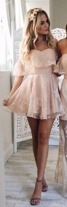 #spring #outfits Blush Off The Shoulder Mesh Dress + Grey Sandals 😍✨