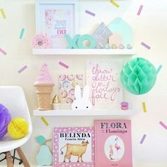 Shelving and sprinkle wall art