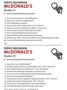 McDonald's, English, Learning English, Vocabulary, ESL, English Phrases, http://www.allthingstopics.com/mcdonalds.html
