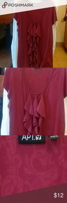 Cap sleeve polyester rayon casual shirt Lightweight ruby/ maroon  ruffled design Apt 9 Tops Blouses