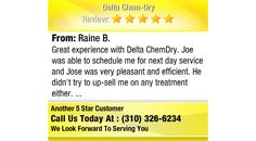 Great experience with Delta ChemDry. Joe was able to schedule me for next day service and...