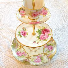 Alice Dresses Up in Gold Pink China Cupcake Stand with Royal Albert Roses For Vintage Weddings, Afternoon Tea, or Holiday Treats