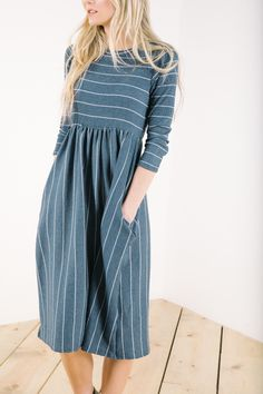 The Raney Striped Dress in Navy