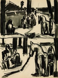 Josef Herman. Studies for 'The Pit Pony'. Graphite and ink on paper. 1958.