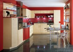 Idea of the Day: Could you live with a red kitchen? (By ALNO, AG). Charming, two tone red light wood gray countertop floor tile Red Kitchen Tiles, Two Tone Kitchen Cabinets, Red Kitchen Decor, Brown Cabinets, Rustic Kitchen, Kitchen Ideas, Kitchen Walls, Kitchen Modern, Red Kitchen Accessories