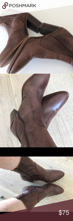 """💕Topshop women's brown zip up booties size 9 Gorgeous women's brown leather zip up booties in size 9. Absolutely fabulous and super comfortable. Blocked heel and beautiful detailing throughout. Literally goes with everything. Buttery soft leather. Approximately 6.5"""" high from back of ankle. Fits above ankles. Gently worn but in excellent condition! Always in style. Size 9 but fits a bit on the smaller side. I'm an 8 and they fit me perfectly. A trip to The shoemaker would give it a nice…"""