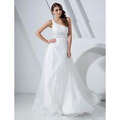 Free Measurements ! A-line One Shoulder Floor-length Organza And Satin Evening/Prom Dress – USD $ 111.99