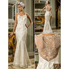 Wedding Dress Trumpet Mermaid Floor Length Lace Stretch Satin Queen Anne With Pearl Detailing – USD $ 159.99