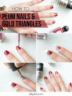 Mani of the week: Gold triangles & plum claws nail tutorial