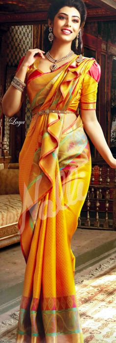Searching for the best Modern Indian Saree also items like Saree also Elegant Design Sari Blouse then Click VISIT link above to see Bridal Sarees South Indian, Indian Bridal Wear, Indian Sarees, Indian Wear, Indian Dresses Traditional, Traditional Outfits, Saree Draping Styles, Saree Styles, Indian Attire
