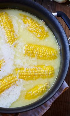 Boil with 1 stick of butter and 1 cup of milk. Most delicious corn ever!