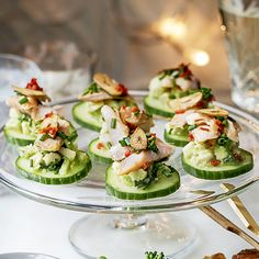 A delicious little canapé that's quick to make and looks impressive! Simply layer a slice of cucumber with a dollop of avocado and chives, smoked trout and a sprinkle of chilli! Get the recipe on the Waitrose website.