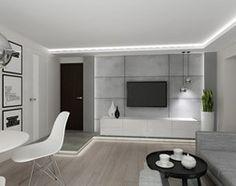 Projekt salonu z kuchnia w szarościach. - Średni salon z jadalnią, styl nowoczesny - zdjęcie od All Design Agnieszka Lorenc