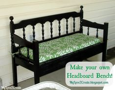 DIY Furniture / DIY Headboard Bench, or loving referred to as the Puzzle Bench - CotCozy Headboard Redo, Make Your Own Headboard, Headboard Benches, Headboards For Beds, Headboard Ideas, Diy Furniture Redo, Repurposed Furniture, Furniture Projects, Handmade Furniture