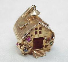Vintage Large 14k Gold Jeweled Charm ~ COTTAGE 1950's, 13 grams, $1150.00 Ruby Lane, 10-16-14