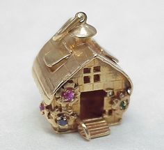 Vintage Large 14k Gold Jeweled Charm Cottage 1950's...