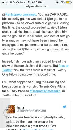 I dare you what kind of monsters would steal something from Tyler??? This makes me furious do they realize they may tarnish the joy of concerts for them and many others will never have a chance to see them in person for what? A shoe?