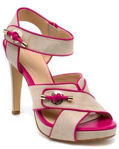 Calvin Klein 'Lizandra' Linen & Leather Sandal.  Love the pop of color!  Also available in grey and white