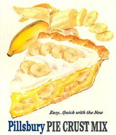 Banana Creme Pie is easy with Pillsbury Pie Crust Mix. #vintage #desserts #food