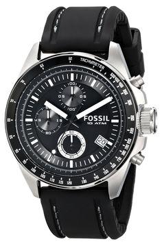 Fossil CH2573 , Reloj analógico de cuarzo para hombre con correa de piel, Color Negro
