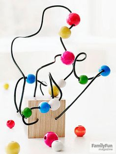 "Easy Wire Sculpture: Wire allows children to ""draw"" in three dimensions. The beads add color and help children follow the lines they've made."