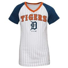 Detroit Tigers Girls' Ian Kinsler Pinstripe T-Shirt Jersey - White XL, Multicolored White