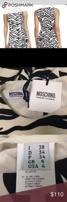 "Authentic Moschino Cheap & Chic Zebra Print Dress Never worn with tags! With a fun print on a classic silhouette, this dress is perfect for dancing or a wedding. Toss a sharp black blazer over it to make it work for the office. Measurements: 31"" across bust, 26"" across waist, 32"" across hips. *all measurements are approximate Moschino Dresses Midi"
