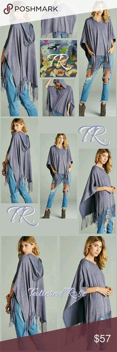 MED or LG Lilac T Shirt Poncho 🍒30% Off Bundles🍒 This is the best poncho!! If you love your T's this is for you! Pre-washed for that perfect faded look! Love the hoody and the fringe is totally trending! Beautiful purple for all seasons. Sewn with love Tattered Rose  Tops Sweatshirts & Hoodies